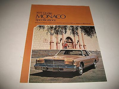 1975 Dodge Monaco Cdn Issue Specifications & Options Special Royal Brougham