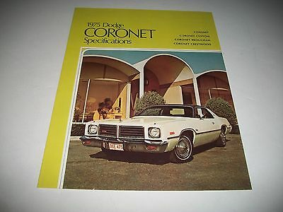 1975 Dodge Coronet Cdn Issue Specifications & Options Brochure Custom  Brougham
