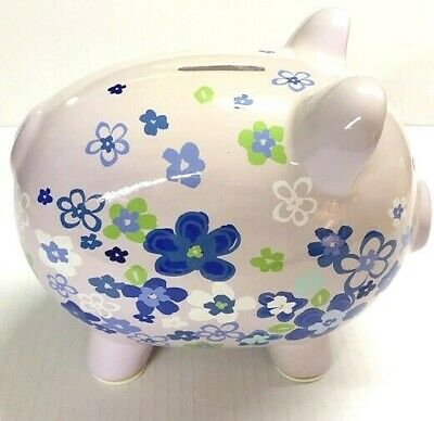 Pink With Flowers Piggy Bank Money Coin Bills Save Decorative Pig Kids Home