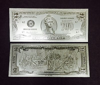 Stunning Detail Silver $$$ US Banknote $2 Two Dollar Bill  .999  W/ Sleeve Incl