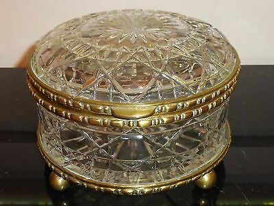 "Vintage French Cut Glass Bronze Ormolu Casket Round Box Baccarat Style 4"" H 8"" W"