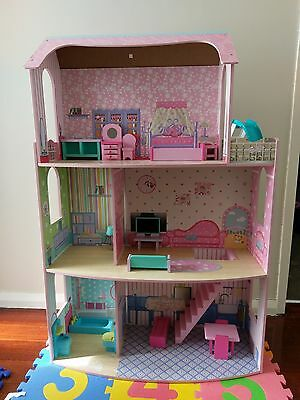 Large Wooden Doll House With Furniture Aud Picclick Au