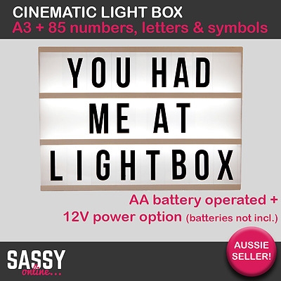 A3 Large Cinematic Light Box Light Up Cinema Letter Box Wedding Parties 85 Pcs