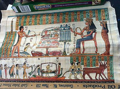 "EGYPTIAN ORIGINAL HAND PAINTED PAPYRUS 12""x16"" QUEEN CLEOPATRA"