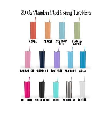 Set of 8 20 oz Double Wall Stainless Steel Skinny Tumblers
