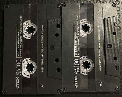 2 x TDK SA100 Blank Cassette Tapes USED