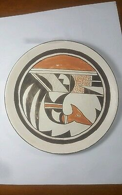 Vintage & One Of The Kind Bird Pottery Plate by Hopi Indian Laura Dashee