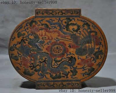 Old Chinese lacquerware wood Carved Auspicious dragon Phoenix jewelry box boxes