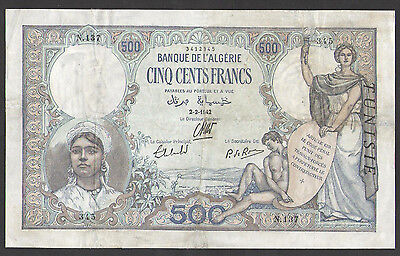 TUNISIA 500  Francs  1942  P.14  Circulated = VF/XF (Repaired Edge)