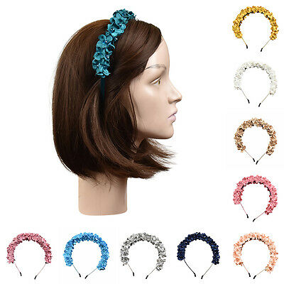 Hard Headband Stylish Small Flowers with Beads Pretty Girls Hair Band w/Teeth