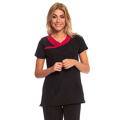Beauty Therapist Uniform Ladies Salon Tunic Spa Hair Beautician Nail Black Pink