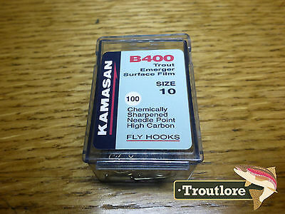 100 x KAMASAN B400 #10 DRY FLY / EMERGER HOOKS - NEW FLY TYING MATERIALS