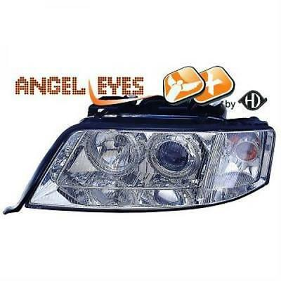 Audi A6 Angel Eyes Designscheinwerfer SET H7 Klar  Chrom Bj.97-99
