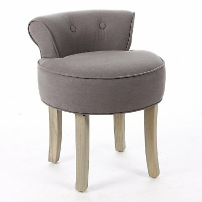 Dressing Table Vanity stool Padded Seat Chair Modern Bedroom Grey Cotton Linen
