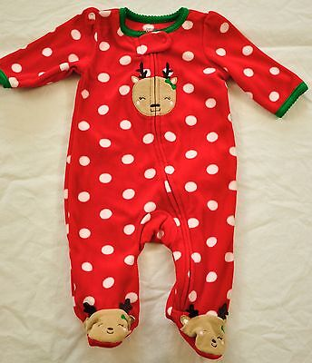 e4363df8e6 GIRL s CARTER s red dots sleeper one piece playsuit size 3 months REINDEER  NEW