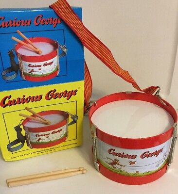 Curious George Drum With Wood Sticks, With Adjustable Strap  Age 2 And Up.