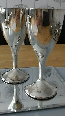 Stunning Pair Of Silver Plated Goblets