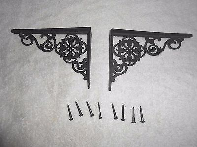 "Antique Iron Art Company Cast Iron Wall Shelf Brackets 6-1/2"" x 4-3/4""  with Box"