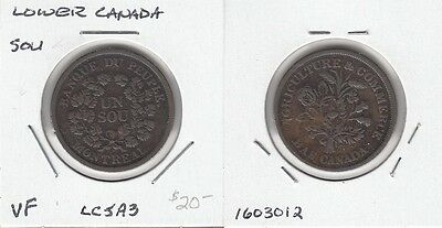 Lower Canada pair of Un Sou tokens, LC-5A3 plus LC-41A1