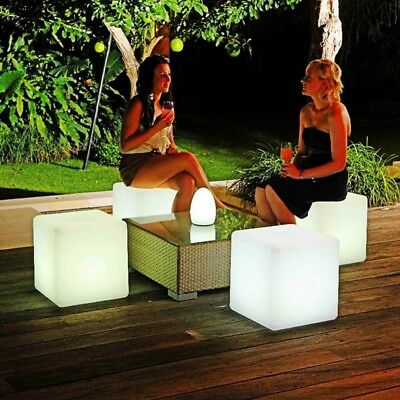 Light Up LED Color Changing Cube Stool Seat Chair Watertight Party Wedding Scene