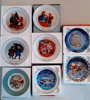 Lot of 8 Avon Decorative Collectible Christmas Plates, 1980-84, 2002, 2003, 2005