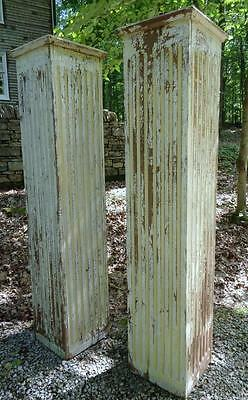 "Antique Pair 16"" x 16"" x 81"" Fluted Poplar Nashville Tennessee Columns Pillars"