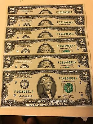 NEW Uncirculated $2 Dollar Bill Note Sequential Denomination USD BEP - NEW YORK