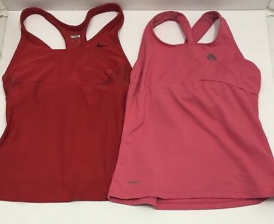 Nike Dri-Fit Women's Racerback Tank Top Size Small With Built-In Bra-Red & Pink