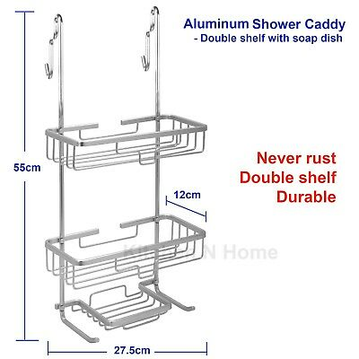 Aluminum Shower Caddy, 2 Tiers over door shower rack, Never Rust, Stainless