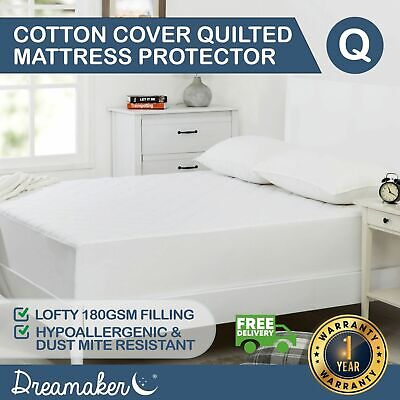 QUEEN 100 GSM QUILTED MATTRESS PROTECTOR Cotton Cover Fitted Polyester Topper