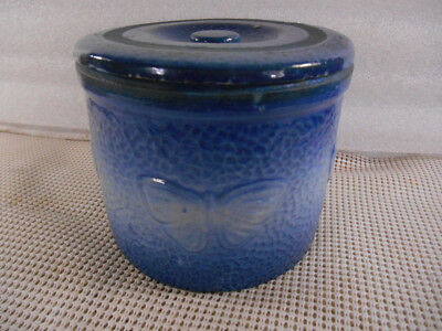 Antique BLUE & WHITE SALT GLAZE STONEWARE BUTTER CROCK w BUTTERFLIES & LID