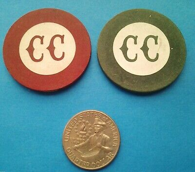 2 Vintage CC MONOGRAM Paranoid Inlaid Illegal CasinoType Gambling Poker Chip