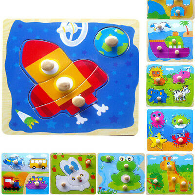 New Baby Toddler Intelligence Development Animal Wooden Brick Puzzle Toy Classic