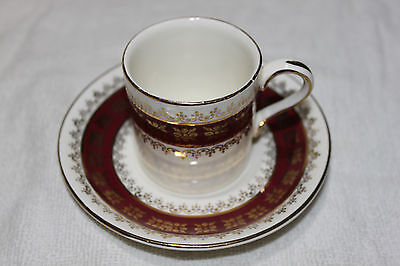 Vintage Crown Ducal Deep Red and Gold Demitasse Cup and Saucer