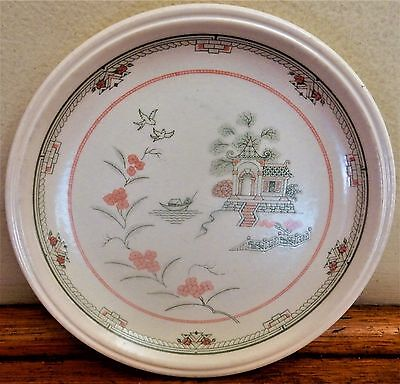 Green Pink White PAGODA PATTERN CAKE PLATE Blue Willow Pattern Variant COLOROLL