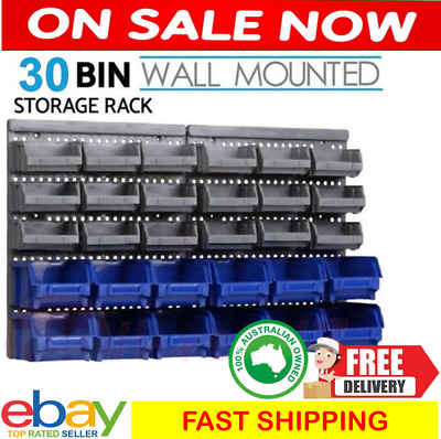 Wall Mounted Storage Rack 30 Bin Shelf Organiser Nuts Bolts Garage Containers
