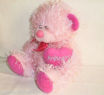 Paws Cute Fluffy Pink Teddy Bear Plush Holding Pink Princess Love Heart