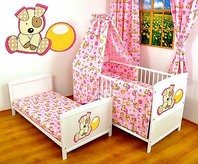 NEW WHITE 2in1 COT-BED 120x60 - PUPPY W/BALL PINK -12 PC BEDDING - MATTRESS FREE