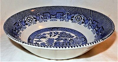 Woods & Sons Blue & White WILLOW PATTERN Breakfast Soup BOWL England Made Ware