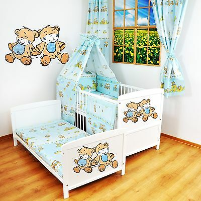 NEW WHITE 2in1 COT-BED 120x60 -LITTLE BEARS - 12 PIECE BEDDING - MATTRESS FREE