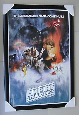 "STAR WARS framed POSTER ""EMPIRE STRIKES BACK"" Ready to Hang ""BLACK WOODEN"""