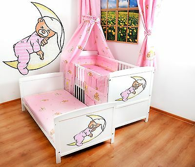 NEW WHITE 2in1 COT-BED 120x60 BEAR ON MOON -12 PIECE BEDDING - MATTRESS FREE