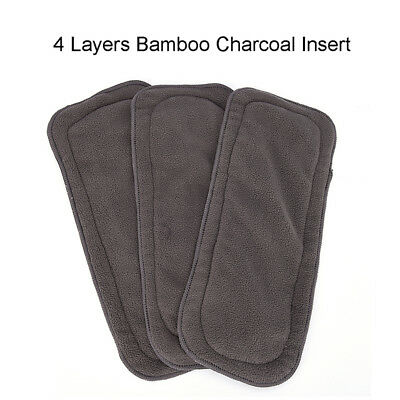 4 Layers Soft Reusable Newborn Baby Bamboo Charcoal Cotton Liners Cloth Diapers.
