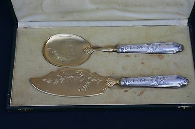 Antique French Ice Cream / Cake Serving Set 2 Pcs In Box Sterling Silver Handles