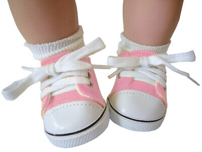Pink Canvas Deck Gym Shoes Sneakers made for Bitty Baby + Twins Doll Clothes