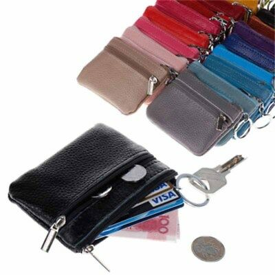 11Colors Leather Cards Coin Key Holder Zip Wallets Purses Pouch Bag Unisex EI KP