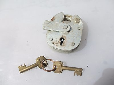 Vintage Steel Padlock Lock with Brass Key Iron Old ERA England Hardened