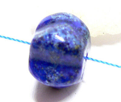 RARE NATURAL LARGE BLUE LAPIS LAZULI MELON CARVED BEAD from AFGHAN 14mm 18.15cts