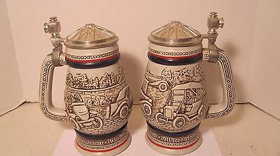 Set Of Two Avon Beer Steins Antique Cars Made In Brazil