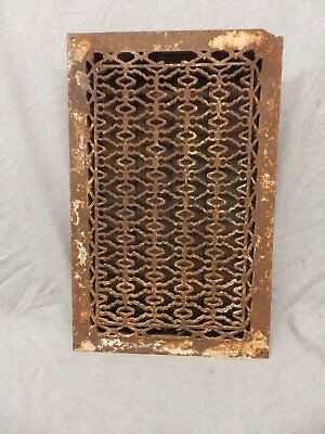 Antique Cast Iron Heat Grate Vent Register Old Design Decorative 20x12 365-17P